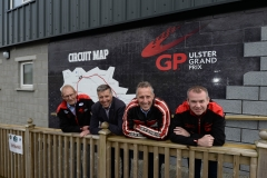 MPs for North and South Antrim, Ian Paisley and Paul Girvan, have visited Dundrod, home of the MCE Ulster Grand Prix to review the significant improvements that  L-R: Ken Stewart, Secretary of the Dundrod & District Motorcycle Club, Paul Girvan MP, Ian Paisley MP and Geoff Wilson, MCE UGP Brand Consultant