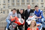 William Dunlop, Bruce Anstey, Aer Lingus Head Pilot Harry Brady, Conor Cummins and Ulster Grand Prix girl April Linton at the launch of the 90th McKinstry Skip Hire Ulster Grand Prix at Parliament Buildings