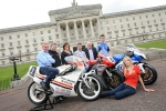 Brian Reid, Bruce Anstey, Siobhan Rice of Around a Pound, William Dunlop, Noel Johnston, Conor Cummins and Ulster Grand Prix girl April Linton at the launch of the 90th McKinstry Skip Hire Ulster Grand Prix at Parliament Buildings