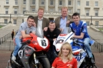 William Dunlop, Bruce Anstey, Conor Cummins and Ulster Grand Prix girl April Linton with Tommy and Terry Maxwell at the launch of the 90th McKinstry Skip Hire Ulster Grand Prix at Parliament Buildings