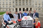 PACEMAKER, BELFAST, 14/6/2012: Ulster Grand Prix girl April Linton joins Clerk of the Course Noel Johnston, Minister Edwin Poots MLA, title sponsor Darren McKinstry and top road racers Brian Reid, William Dunlop, Bruce Anstey and Conor Cummins to launch the 2012 McKinstry Skip Hire Ulster Grand Prix at Stormont estate today. This is the 90th anniversary of the race and Bike Week will take place between 6-11 August. PICTURE BY STEPHEN DAVISON