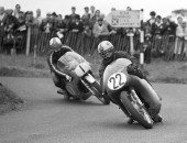 photo by ROWLAND WHITE Motor Cycle Road Racing: Race: Ulster Grand Prix Caption: Roy Reid and Mike Hailwood
