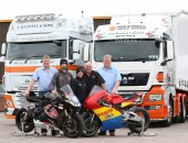 Super twins back the Supertwins race at the 2015 Metzeler Ulster Grand Prix: L-R Tommy Maxwell of Maxwell Freight Services, Glenn Irwin, Christian Elkin, Noel Johnston, Clerk of the Course and Terry Maxwell of Maxwell Freight Services.
