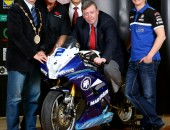 Press Eye - Belfast -  Northern Ireland - 27th July  2015  Photo by William Cherry  Pictured at the Partnership Launch between Lisburn & Castlereagh City Council and the Ulster Grand Prix are: (l-r) the Mayor, Councillor Thomas Beckett; Noel Johnson, Clerk of the Course, Dundrod & District Motorcycle Club; Jim Rose, Director of Leisure & Community Services; Alderman Paul Porter, Chairman of the Council's Leisure & Community Development Committee and motorcycle rider Dean Harrison.