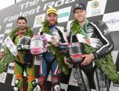 PACEMAKER, BELFAST, 8/8/2015: Lee Johnston (East Coast Construction Triumph) celebrates winning the second Supersport race at the Ulster Grand Prix with runner up Glenn Irwin (Gearlink Kawasaki) and third placed Ian Hutchinson (TTC Yamaha). PICTURE BY STEPHEN DAVISON
