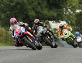 Pacemaker Belfast - 08-08-2015  Lee Johnston leads duing todays  Supersport Race at U.G.P  Photo by Tremaine Gregg/Pacemaker