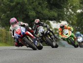 Lee Johnston leads Ian Hutchinson, Glenn Irwin and Dean Harrison during the Supersport Race at 2015 Ulster Grand Prix.