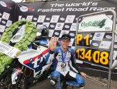 PACEMAKER BELFAST 13.8.16: Ian Hutchinson (Tyco BMW) celebrates winning the second Superbike race, his fourth victory of the day, at the Ulster Grand Prix. The Bingley Bullet also broke the outright lap record, setting a new mark of 134.089mph. Picture STEPHEN DAVISON